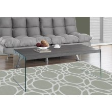 COFFEE TABLE - GREY WITH TEMPERED GLASS