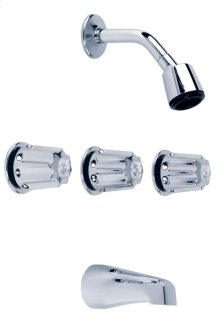 Chrome Gerber® Classic 11 Inch Centers Three Handle Tub & Shower Fitting
