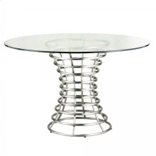 Ibiza Brushed Stainless Steel Dining Table with Clear Glass