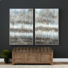 Gray Reflections Hand Painted Canvases, S/2