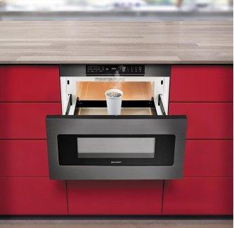 "24"" Microwave Drawer ; Black Stainless Steel, Hidden Control Panel"