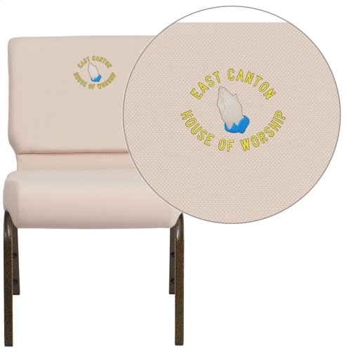 Embroidered HERCULES Series 21'' Extra Wide Beige Fabric Stacking Church Chair with 4'' Thick Seat - Gold Vein Frame