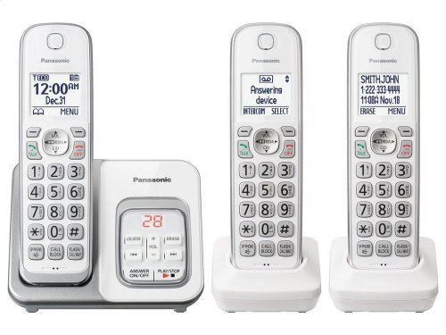 Expandable Cordless Phone with Call Block and Answering Machine - 3 Handsets - KX-TGD533W