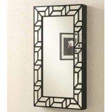 Transitional Geometric Jewelry Armoire Mirror