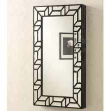 Transitional Geometric Jewelry Armoire Mirror