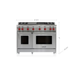 "Wolf48"" Gas Range - 4 Burners, Infrared Charbroiler and Infrared Griddle"