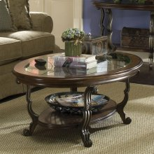 Ambrosia - Oval Coffee Table and Round Side Table - Terra Sienna Finish-Floor Sample
