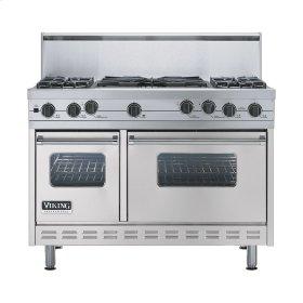 "Metallic Silver 48"" Sealed Burner Self-Cleaning Range - VGSC (48"" wide, four burners & 24"" wide wok/cooker)"