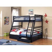 Twin / Full Bunkbed with Storage Drawers (Navy Blue)