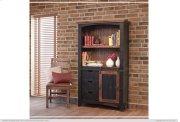 "70"" Bookcase w/3 drawers, 1 Sliding door & 1 Wooden middle Shelf - Black finish Product Image"