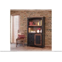 "70"" Bookcase w/3 drawers, 1 Sliding door & 1 Wooden middle Shelf - Black finish"