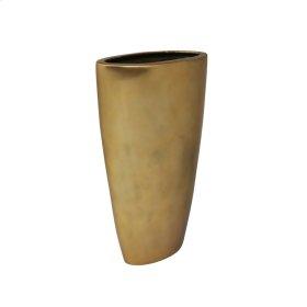 "Oval 15"" Aluminum Vase, Matte Gold"
