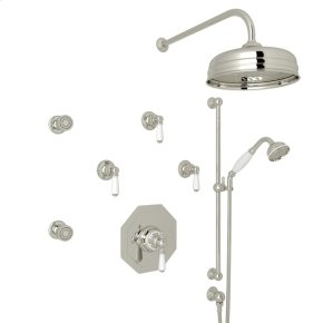 Polished Nickel Perrin & Rowe Edwardian Thermostatic Shower Package with Metal Lever