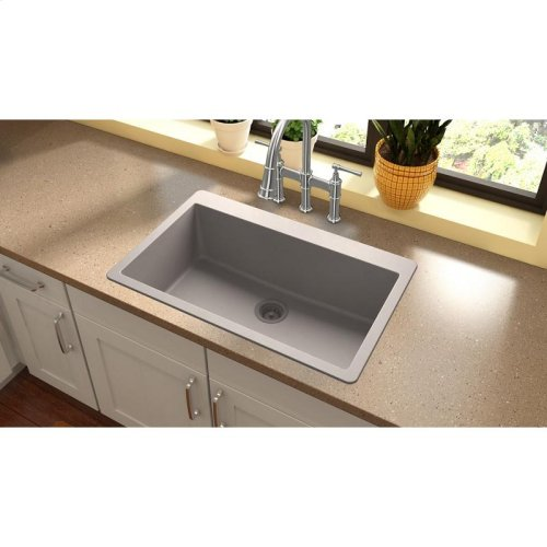 """Elkay Quartz Classic 33"""" x 20-7/8"""" x 9-7/16"""", Single Bowl Drop-in Sink, Greige"""