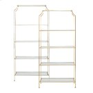 Gold Leafed Etagere With Clear Glass Shelves. Product Image