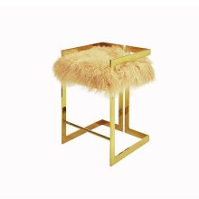 Counter Height Brass Stool With Natural Mongolian Fur Cushion - Seat Height: 27""