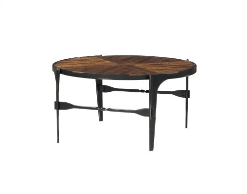 Emerald Home Franklin's Forge Round Cocktail Table-wood Top With Metal Legs-t247-00