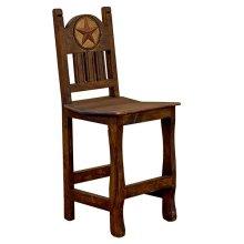"24"" Barstool W/Wood Seat & Stone Star"