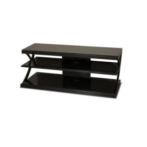 "Techcraft48"" Wide Stand - Black Glass Top and Shelves - Accommodates Most 52"" and Smaller Flat Panels - No Tools Required"