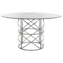 Ren Chrome Round Glass Top Dining Table - Chrome