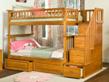 Columbia Staircase Bunk Bed Twin over Twin with Raised Panel Bed Drawers in Caramel Latte