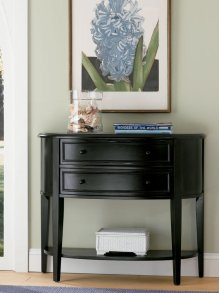 """Antique Black"" with Sand Through Terra Cotta Demilune Console Table"