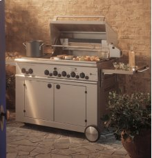 """GE Monogram® 48"""" Outdoor Cooking Center with 3 Grill Burners, 2 Cooktop Burners, Rotisserie and Smoker (Liquid Propane)"""
