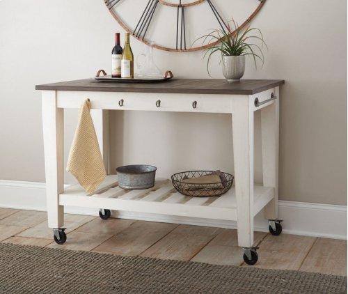 "Cayla Two Tone Kitchen Cart, Dark Oak& White, 50""x28""x36"""