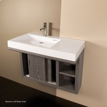 Wall-mounted under-counter vanity with two sliding doors, two open cubbies on the right, and accent light.