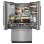 KitchenAid® 26.8 cu.ft. 36-Inch Width Standard Depth French Door Refrigerator with Exterior Ice and Water Platinum Interior - Stainless Steel