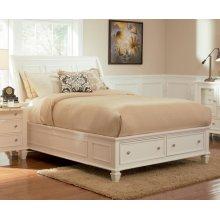 Sandy Beach White Queen Sleigh Bed With Footboard Storage