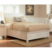 Sandy Beach White Queen Sleigh Bed With Footboard Storage
