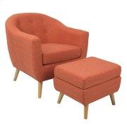Rockwell Chair + Ottoman Set - Natural Wood, Dark Orange Fabric Product Image