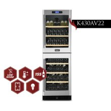 KUCHT 155-Bottle Dual Zone Wine Cooler Built-in with Compressor in Stainless Steel