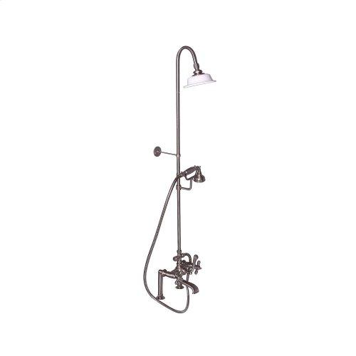 Tub Filler with Diverter Hand-Held Shower and Riser - Metal Cross Handles - Brushed Nickel