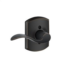 Accent Lever with Greenwich Trim Non-Turning Lock - Aged Bronze