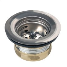 "Dayton 3-1/2"" Stainless Steel Drain with Removable Basket Strainer and Rubber Stopper"