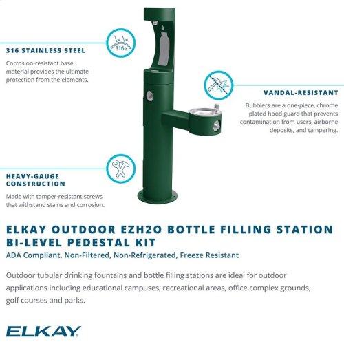 Elkay Outdoor ezH2O Bottle Filling Station Bi-Level Pedestal, Non-Filtered Non-Refrigerated Freeze Resistant Black