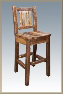 Homestead Barstool with Back - Stained and Lacquered