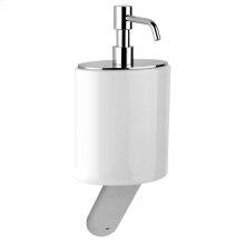 Wall-mounted liquid soap dispenser in ceramic