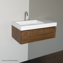Wall-mount under-counter vanity with finger pulls on one drawer, the drawer has Ushaped notch for plumbing. Washbasin #5101 sold separately.