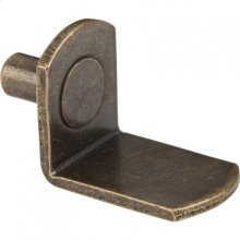 "Antique Brass 5 mm Pin Angled Shelf Support with 3/4"" Arm"
