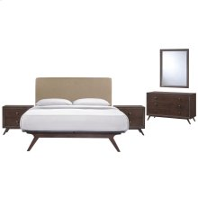 Tracy 5 Piece Queen Upholstered Fabric Wood Bedroom Set in Cappuccino Latte
