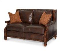 Wood Trim Leather/Fabric Loveseat - Opt1