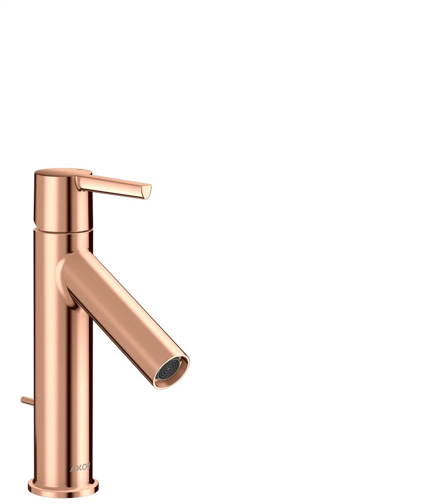 Polished Red Gold Single lever basin mixer 100 with lever handle and pop-up waste set