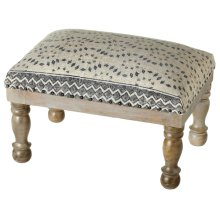 Blue & Grey Tribal Diamond Block Print Stool (Each One Will Vary).