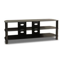 "57 Wide - Easy To Assemble Stand With Black Glass Top and Shelves, Accommodates Most 65"" and Smaller Flat Panels"
