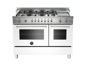 48 6-Burner + Griddle, Gas Double Oven White
