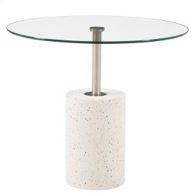 Sharon KD End Table Glass Top with White Concrete Base, Transparent