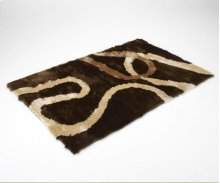 Chocolate Brown / Tan Shag Rug